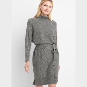 Gap Mock Neck Tie Belt Sweater Dress In Gray